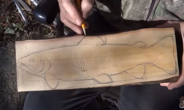 Carving A Wooden Brown Trout From A Log
