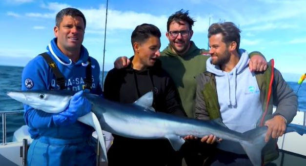 Boat fishing for Blue Sharks in cornwall!